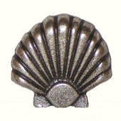 Tropical Collection 1-11/16'' Wide Large Seashell Cabinet Knob in Antique Brass, 1-11/16'' W x 7/8'' D x 1-5/8'' H