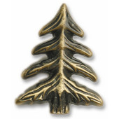 Leaves & Trees Collection 1-5/8'' Wide Pine Tree Cabinet Knob in Antique Brass, 1-5/8'' W x 3/4'' D x 2'' H