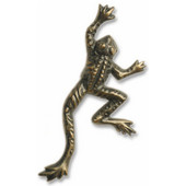 Wildlife Collection 1-1/2'' Wide Frog Cabinet Knob in Antique Brass, 1-1/2'' W x 7/8'' D x 3-1/2'' H