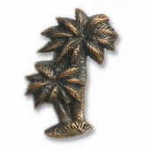 Tropical Collection 1-3/8'' Wide Palm Trees Cabinet Knob in Antique Brass, 1-3/8'' W x 7/8'' D x 1-15/16'' H
