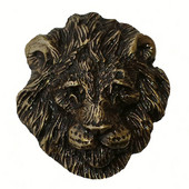Safari Collection 1-3/4'' Wide Lion Cabinet Knob in Antique Brass, 1-3/4'' W x 1-1/16'' D x 1-7/8'' H