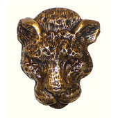 Safari Collection 1-1/2'' Wide Leopard Cabinet Knob in Antique Brass, 1-1/2'' W x 1-1/8'' D x 1-3/4'' H