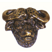 Safari Collection 2-1/8'' Wide Cape Buffalo Cabinet Knob in Antique Brass, 2-1/8'' W x 1-1/8'' D x 1-3/4'' H
