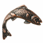 Fish Collection 2-7/16'' Wide Jumping Trout Right Face Cabinet Knob in Antique Brass, 2-7/16'' W x 3/4'' D x 2'' H
