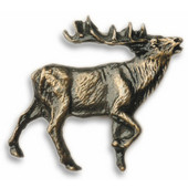 Wildlife Collection 1-7/8'' Wide Walking Elk Right Face Cabinet Knob in Antique Brass, 1-7/8'' W x 3/4'' D x 1-3/4'' H