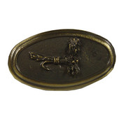 Fish Collection 1-7/16'' Diameter Trout Fly Oval Cabinet Knob in Antique Brass, 1-7/16'' Diameter x 1'' D x 2-7/16'' H