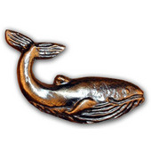 Tropical Collection 2-1/2'' Wide Whale Cabinet Knob in Antique Brass, 2-1/2'' W x 5/8'' D x 1-1/4'' H