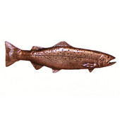 Fish Collection 5'' Wide New Long Trout Right Face Cabinet Pull in Antique Brass, 5'' W x 3/4'' D x 1-1/2'' H, Center to Center: 2-15/16''