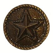 Southwest Collection 1-1/4'' Diameter Barn Star Round Cabinet Knob in Antique Brass, 1-1/4'' Diameter x 7/8'' D x 1-1/4'' H