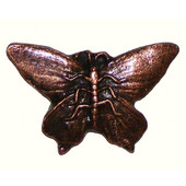 Wildlife Collection 2-1/4'' Wide Realistic Butterfly Cabinet Knob in Antique Brass, 2-1/4'' W x 7/8'' D x 1-1/2'' H