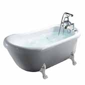 Ariel Platinum Freestanding Whirlpool Bathtub with Hydro Massage System in White Finish, 68 Gallon Capacity, 67-1/2'W x 31-1/2'D x 28-13/16'H
