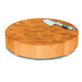 Round Countertop Butcher Block Chopping Block, 15-3/8'' Dia. X 3'' H