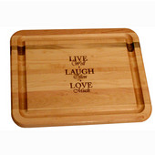 Branded Live, Laugh, Love Flat Grain Reversible Cutting Board with Juice Groove in Oiled Finish, 19'' W x 15'' D x 1'' H