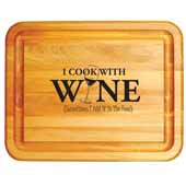 ''I Cook With Wine'' Cutting Board, 19''W x 15''D x 1''H