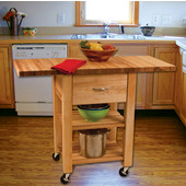 Deep Drawer Double Drop Leaf Cart with 1-1/2'' Thick Butcher Block Top in Oiled Finish, Ready to Assemble, Casters, 46'' W x 20'' D x 35-1/4'' H