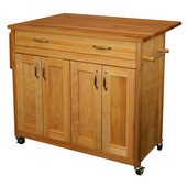 Mid Sized Island with Flat Panel Doors and Drop Leaf, 40'' W x 26 1/2'' D x 34 1/2'' H, Oil Finish