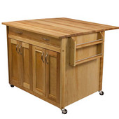 Deep Island with Flat Panel Doors and Drop Leaf, 40-5/8'' W x 38'' D x 34-1/2''H, Oil Finish