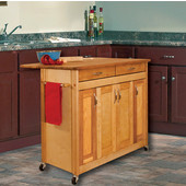 Butcher Block Island with Flat Panel Doors and Drop Leaf in Oiled Finish, Ready to Assemble, Casters, 44-3/8'' W x 28'' D x 34-1/2'' H
