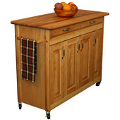 Butcher Block Island with Raised Panel Doors, 44 3/8'' W x 20'' D x 34 1/2'' H, Oil Finish