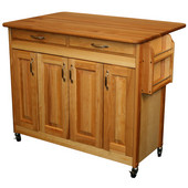 Butcher Block Island with Raised Panel Doors & Drop Leaf, 44 3/8'' W x 28'' D x 34 1/2'' H, Oil Finish