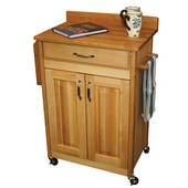Deluxed Butcher Block Cart w/ Raised Panels and Backsplash, 26 7/8'' W x 17 3/4'' D x 37'' H