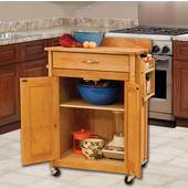 Deluxe Butcher Block Cart with Flat Panel Doors and Backsplash in Oiled Finish, Casters, 26-7/8'' W x 17-3/4'' D x 37'' H