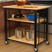 Contemporary Kitchen Cart with Natural Lacquered Hardwood Top, Slatted Shelves and Casters, 33-1/2'' W x 23-1/2'' D x 35-1/4'' H