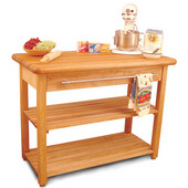 Contemporary Harvest Table with Drawer & 2 Shelves, 48'' W x 24'' D x 36'' H