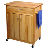 Kitchen Cart w/ Natural Top, 33 1/2'' W x 17'' D x 34 1/2'' H