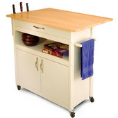 Craftmen Kitchen Island w/  White Base Natural Top & Drop Leaf, 34 1/2'' W x 26'' D x 34'' H