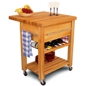 Baby Grand Kitchen Island Workcenter with Drop Leaf and Wine Rack, 6 Bottle Capacity, 29'' W x 29'' D x 35''H
