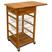 Basket Kitchen Cart w/ Drop Leaf, 32 3/4'' W x 21'' D x 35 3/4'' H