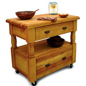 Island Workcenter with Two Cutting Boards, Large Drawers and Decorative Legs, 40'' W x 24'' D x 35 3/4'' H