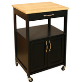 Kitchen Trolley, Black Finish, 23-1/2'' W x 17-1/2'' D x 34-1/4'' H