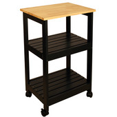 Utility Kitchen Cart, Black Finish, 21'' W x 15 1/4'' D x 34-1/4'' H