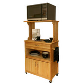 - Microwave Cart w/Open Shelving, 31 1/8'' W x 17'' D x 53'' H