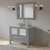 36'' Solid Wood Single Vanity Set in Gray, Tempered Glass Countertop with Glass Bowl Vessel Sink, Brushed Nickel Faucet and Wood Trimmed Mirror Included