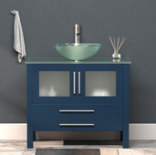 36'' W Solid Wood Single Vanity in Blue, Tempered Glass Countertop with Glass Bowl Vessel Sink, Brushed Nickel Faucet