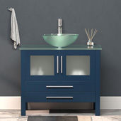 36'' W Solid Wood Single Vanity in Blue, Tempered Glass Countertop with Glass Bowl Vessel Sink, Polished Chrome Faucet