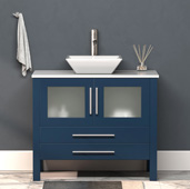 36'' W Solid Wood Single Vanity in Blue, Pristine White Porcelain Countertop with White Porcelain Vessel Sink, Brushed Nickel Faucet