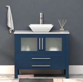 36'' W Solid Wood Single Vanity in Blue, Pristine White Porcelain Countertop with White Porcelain Vessel Sink, Polished Chrome Faucet