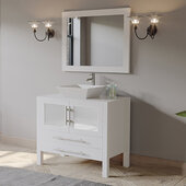36'' Solid Wood Single Vanity Set in White, Pristine White Porcelain Countertop with White Porcelain Vessel Sink, Polished Chrome Faucet and Wood Trimmed Mirror Included