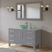 48'' Solid Wood Single Vanity Set in Gray, Tempered Glass Countertop with Glass Bowl Vessel Sink, Polished Chrome Faucet and Wood Trimmed Mirror Included