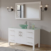 48'' Solid Wood Single Vanity Set in White, Tempered Glass Countertop with Glass Bowl Vessel Sink, Polished Chrome Faucet and Wood Trimmed Mirror Included
