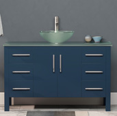 48'' W Solid Wood Single Vanity in Blue, Tempered Glass Countertop with Round Glass Bowl Vessel Sink, Brushed Nickel Faucet