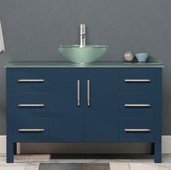 48'' W Solid Wood Single Vanity in Blue, Tempered Glass Countertop with Round Glass Bowl Vessel Sink, Polished Chrome Faucet