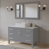 48'' Solid Wood Single Vanity Set in Gray, White Porcelain Countertop with Square White Porcelain Vessel Sink, Brushed Nickel Faucet and Wood Trimmed Mirror Included