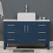 48'' W Solid Wood Single Vanity in Blue, White Porcelain Countertop with Rectangle White Porcelain Vessel Sink, Brushed Nickel Faucet