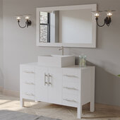 48'' Solid Wood Single Vanity Set in White, White Porcelain Countertop with Square White Porcelain Vessel Sink, Brushed Nickel Faucet and Wood Trimmed Mirror Included
