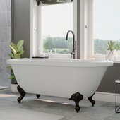 59'' White Acrylic Double Ended Clawfoot Bathtub without Faucet Holes and Complete Oil Rubbed Bronze Plumbing Package, Modern Gooseneck Style Faucet with Shower Wand